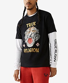 Men's Distressed Tiger Short Sleeve Crewneck Tee