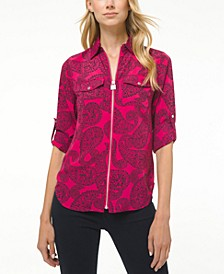 Plus Size Paisley-Print Top