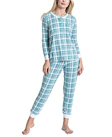 Printed Henley Top & Pants 2pc Pajama Set