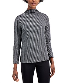 Ribbed Metallic Turtleneck Top, Created for Macy's
