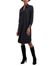 Faux-Leather Trimmed Shirtdress, Created for Macy's