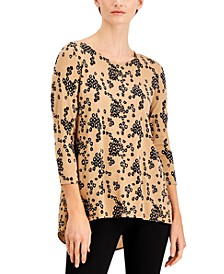 Printed Woven-Back Knit Top, Created for Macy's