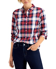 Cotton Plaid Shirt, Regular & Petite, Created for Macy's