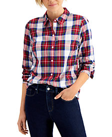 Charter Club Cotton Plaid Shirt, Regular & Petite, Created for Macy's