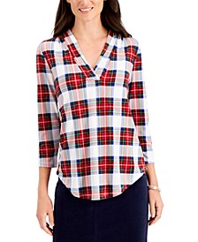 Plaid Pleated V-Neck Top, Created for Macy's