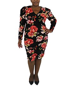 Trendy Plus Size Printed Long-Sleeve Dress