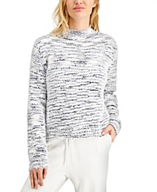 Juniors' Space-Dye Mock-Neck Sweater