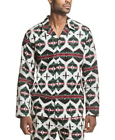 Men's Printed Cotton Flannel Pajama Shirt