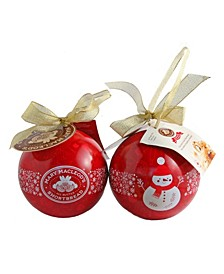Ornament Gift Tins of Chocolate Crunch Shortbread, 6 Pack