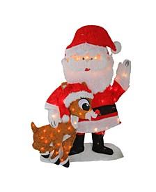 Prelit Waving Santa Claus Christmas Outdoor Decor