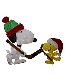 Pre-Lit Peanuts Snoopy and Woodstock Hockey Face-Off Outdoor Decoration