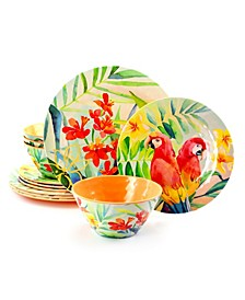 Tropical Parrot 12 Piece Melamine Dinnerware Set