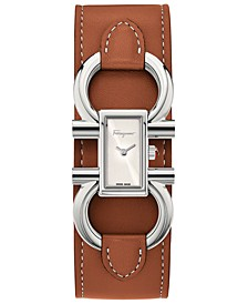 Women's Swiss Double Gancini Brown Calf Leather Cuff Strap Watch 13x23mm