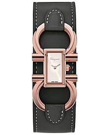 Women's Swiss Double Gancini Black Calf Leather Cuff Strap Watch 13x23mm