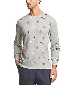Men's Printed Waffle-Knit Pajama Shirt