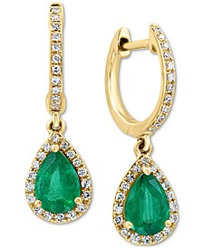 EFFY® Emerald (1-1/6 ct. t.w.) & Diamond (1/4 ct. t.w.) Drop Earrings in 14k Gold