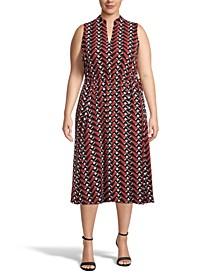 Plus Size Printed Drawstring Midi Dress