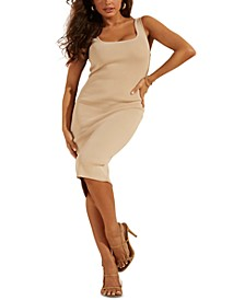 Square-Neckline Fitted Ribbed Dress