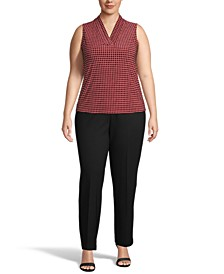 Plus Size Dot-Print Triple-Pleated Top
