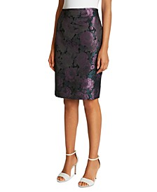 Floral-Jacquard Pencil Skirt