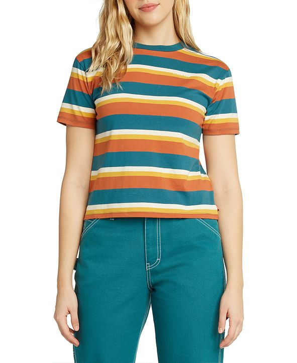 Dickies Juniors' Striped Cropped T-Shirt