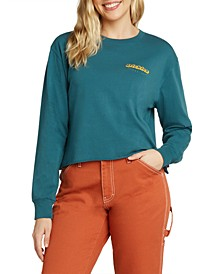 Juniors' Cropped Cotton Logo Top