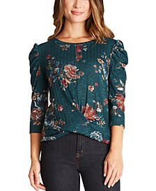 Juniors' Printed Twist-Front Puff-Sleeve Top