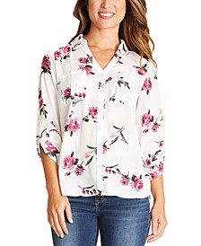 Juniors' Printed Button-Front Blouse