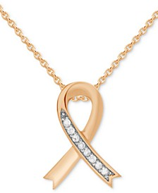 "Diamond Ribbon 18"" Pendant Necklace (1/10 ct. t.w.) in Rose Gold-Plated Sterling Silver"
