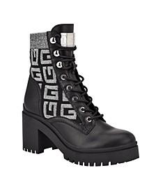 Women's Clarion Lug Sole Block Heel Combat Boots
