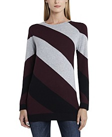 Women's Color Block Asymmetrical Stripe Sweater