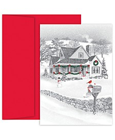 Pencil Sketch Winter Scene Holiday Boxed Cards, 18 Cards and 18 Envelopes