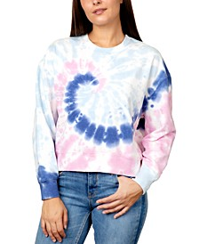 Juniors' Printed Tie-Dye Sweatshirt