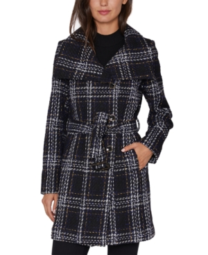 Laundry By Shelli Segal LAUNDRY BY SHELLI SEGAL PLAID BELTED WRAP COAT