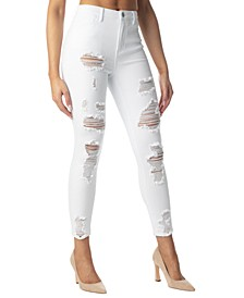 Juniors' Destructed High-Rise Ankle Jeans