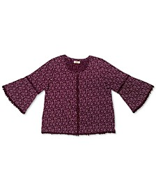 Petite Cotton Floral-Print Crochet-Trim Top, Created for Macy's