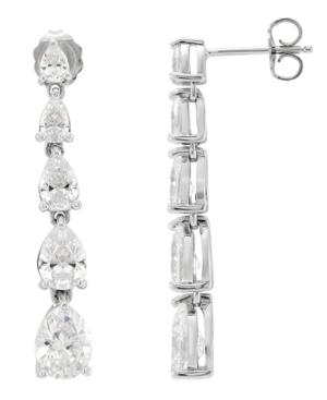 Cubic Zirconia Graduated Linear Earrings in Sterling Silver (8 ct. t.w.)