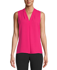 Bar III Pleated V-Neck Top, Created for Macy's