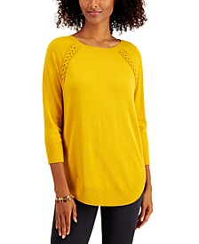 Petite Braided Lace-Up Tunic, Created for Macy's