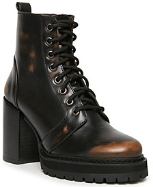 Women's Rivet Lace-Up Lug Sole Booties