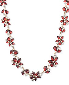 """Gold-Tone Stone & Crystal Flower Collar Necklace, 16"""" + 3"""" extender"""