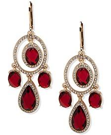 Gold-Tone Stone & Crystal Chandelier Earrings