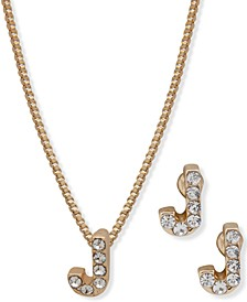 2-Pc. Set Gold-Tone Crystal Initial Pendant Necklace & Matching Stud Earrings