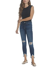 Ripped Mid-Rise Raw-Hem Sharkbite Ankle Skinny Jeans