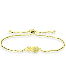 Cubic Zirconia Pineapple Bolo Bracelet in 18k Gold-Plated Sterling Silver, Created for Macy's