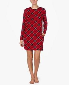 로렌 랄프로렌 잠옷 나이트 가운 Lauren Ralph Lauren Plaid Sleepshirt Nightgown,Red Prt
