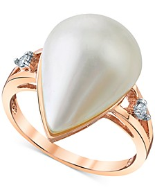 Cultured Freshwater Mabé Pearl (12mm) & Diamond Accent Ring in 14k Rose Gold