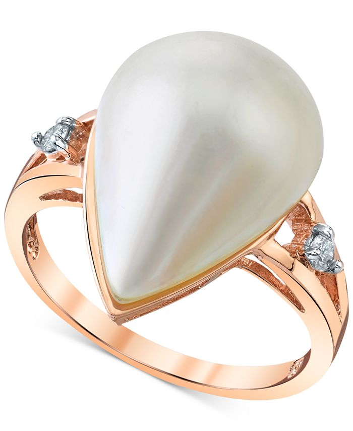 Macy's - Cultured Freshwater Mabé Pearl (12mm) & Diamond Accent Ring in 14k Rose Gold