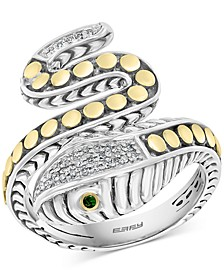 EFFY® Diamond (1/10 ct. t.w.) & Tsavorite Accent Snake Ring in Sterling Silver & 18k Gold-Plate