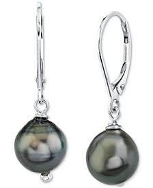 Cultured Black Tahitian Baroque Pearl (8mm) Drop Earrings in Sterling Silver